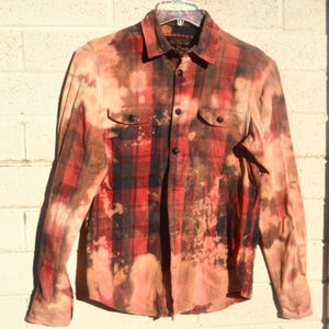 Ben Sherman Tie Dye Red Flannel Long Sleeve Shirt